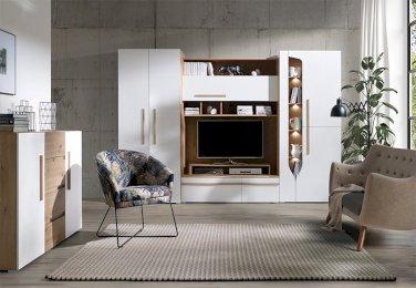 Barcelona - Dąb Artisan + Biały Połysk