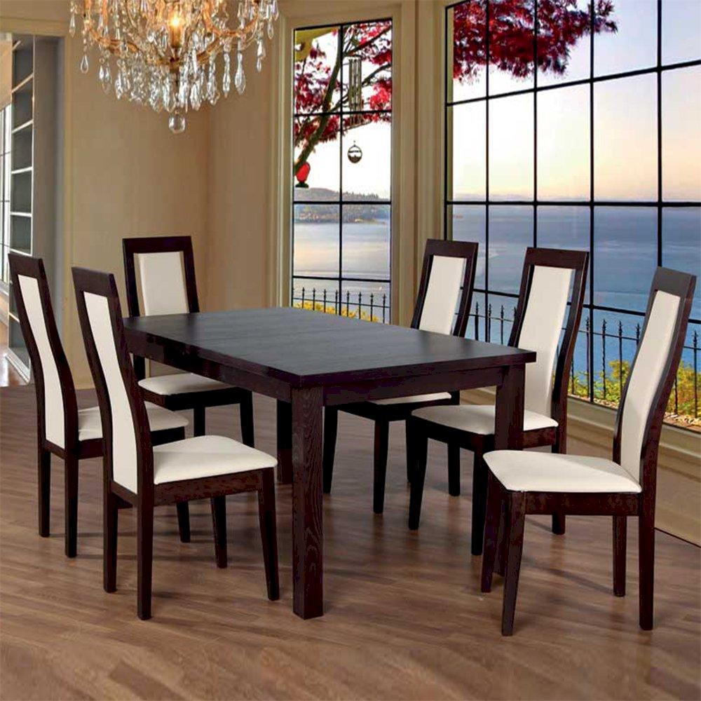 Stół Fornir Max 6 + 6 krzeseł Kanzas Niski (zest. FX8)