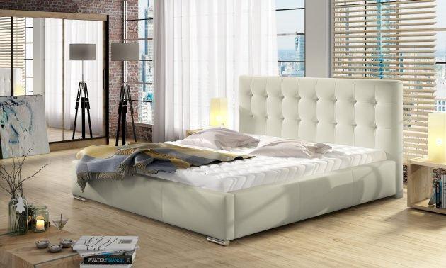 (140x200) PROMOCJA Łóżko tapicerowane Dolores + Stelaż + Materac + Pojemnik