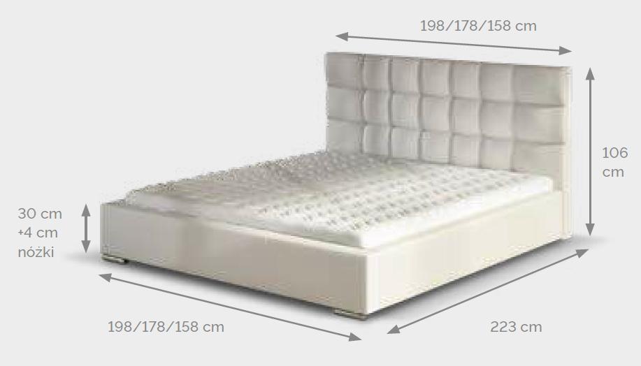 (160x200) PROMOCJA Łóżko tapicerowane Dolores + Stelaż + Materac + Pojemnik