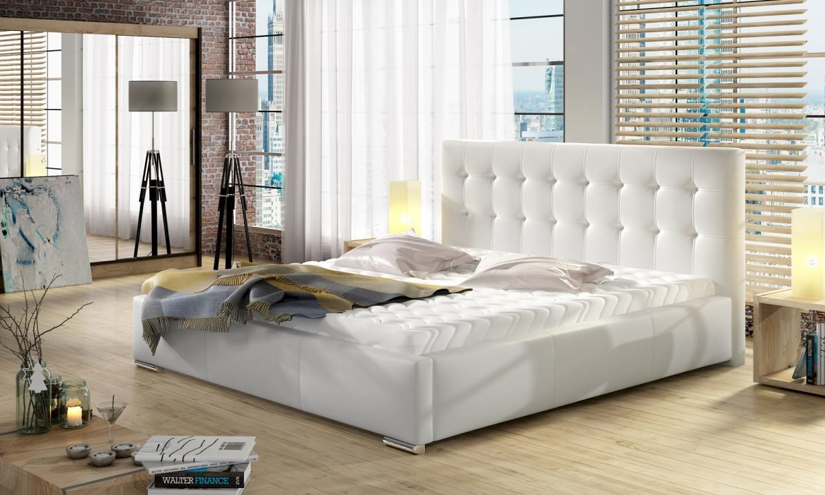 (180x200) PROMOCJA Łóżko tapicerowane Dolores + Stelaż + Materac