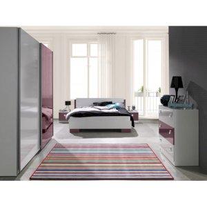 Sypialnia Lux Biały + Fioletowy Połysk