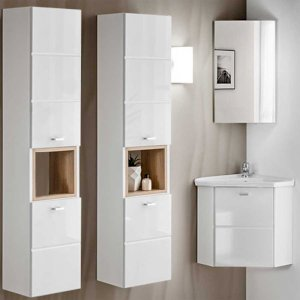 Zestaw mebli łazienkowych z umywalką narożną Finka White