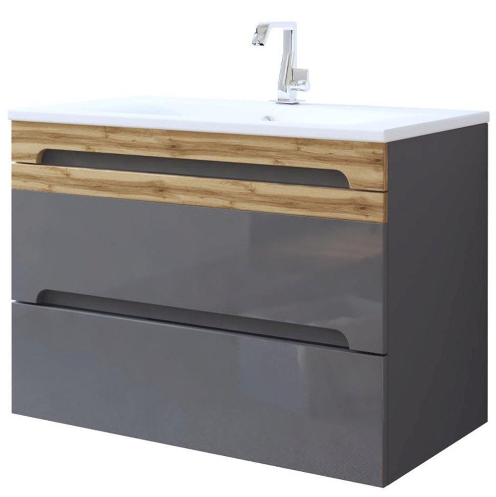 Zestaw mebli łazienkowych Galaxy Grey 80 cm z umywalką